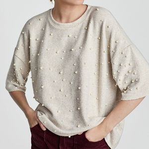 Zara Trafaluc Soft Touch Sweater with Faux Pearls